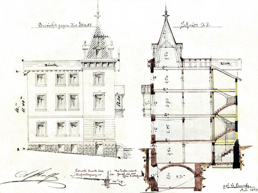Hausansicht der Villa gegen die Stadt, um 1893, Quelle: Stadtarchiv Stuttgart.