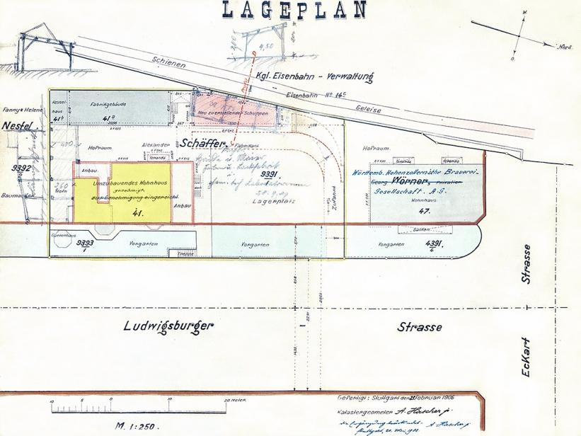 Lageplan um 1906, Nordbahnhofstraße 41 gelb markiert, Quelle: Stadtarchiv Stuttgart.