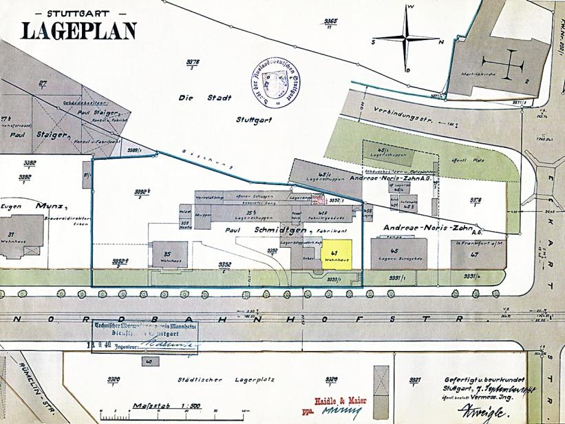 Lageplan um 1940, Nordbahnhofstraße 41 gelb markiert, Quelle: Stadtarchiv Stuttgart.