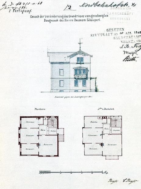 Hausansicht der Villa um 1863, Quelle: Stadtarchiv Stuttgart.