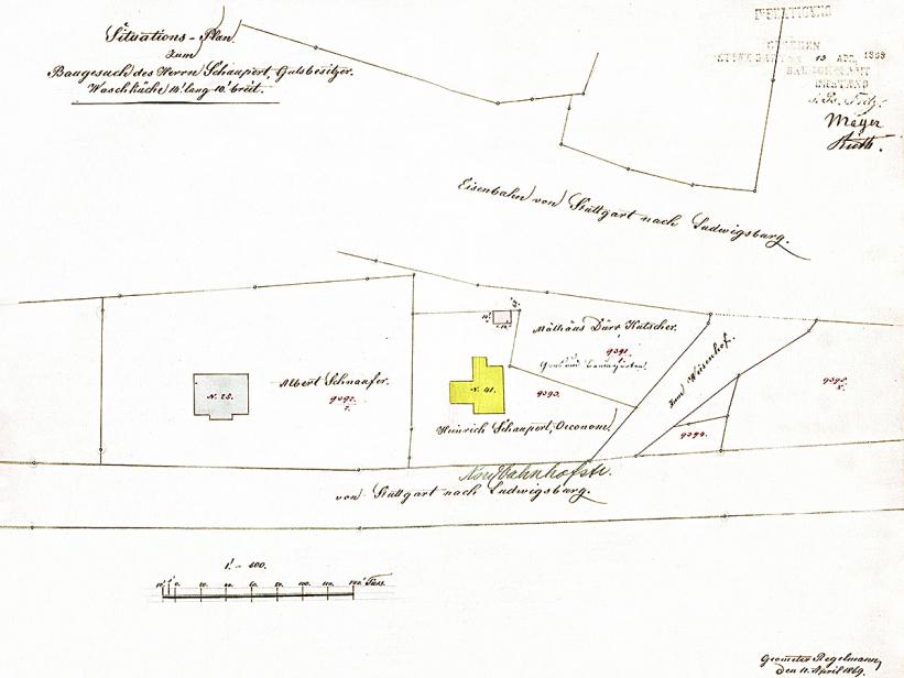 Lageplan von 1869, Nordbahnhofstraße 41 gelb markiert, Quelle: Stadtarchiv Stuttgart.